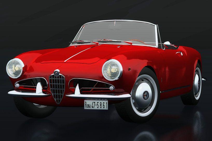 Alfa Romeo Giulietta 1300 Spyder 1955 driekwart aanzicht van Jan Keteleer