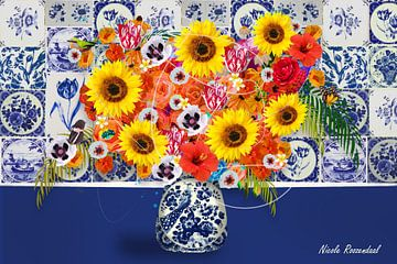Vaas met zonnebloemen in delfts blauw van Nicole Habets