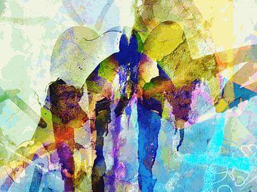 Modernes, abstraktes digitales Kunstwerk in Blau, Gelb, Grün von Art By Dominic