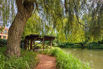 Aan de oever van de rivier de Spree, kasteeleiland Luebben van Melanie Viola