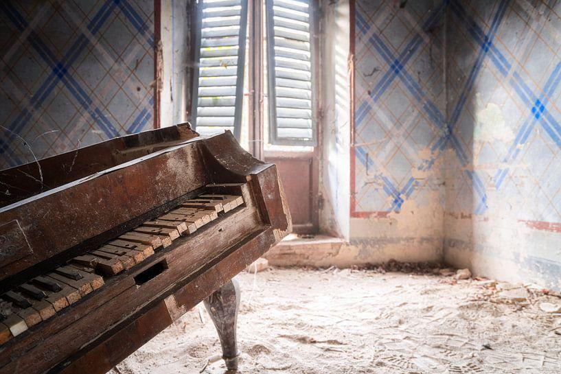 Close-up van Verlaten Piano. van Roman Robroek