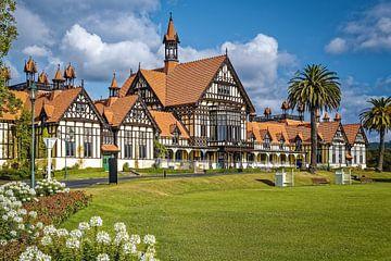 Tudor Towers in de Gouvernementstuinen in Rotorua, Nieuw-Zeeland van Christian Müringer