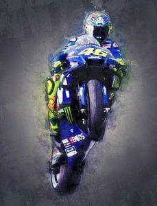 Valentino Rossi olieverf portret Yamaha 2 van 3