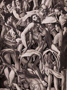 Collage in Sepia - Jesus nach der Kreuzigung aus Gemälden des Altmeisters El Greco von Oscarving 3-P