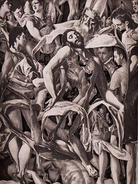 Collage in Sepia - Jesus nach der Kreuzigung aus Gemälden des Altmeisters El Greco von Oscarving 3-P von Oscarving