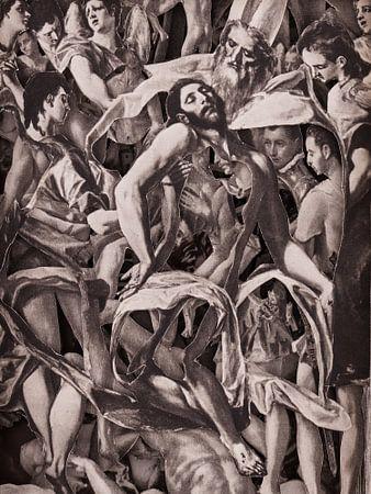 Collage in sepia - Jezus na kruisiging uit schilderijen van oude meester El Greco van Oscarving 3-pe van Oscarving