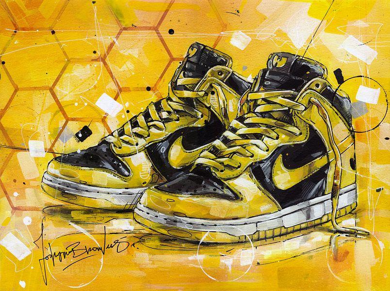 Wu-Tang x Nike Dunk High LE schilderij van Jos Hoppenbrouwers