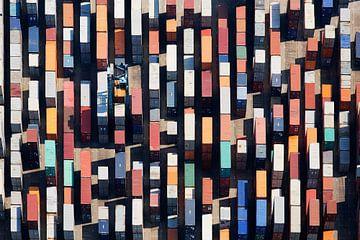 Luchtfoto containers van Anton de Zeeuw