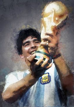 Olieverf portret van Diego Armando Maradona van Bert Hooijer