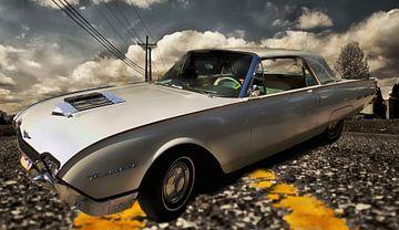 Witte klassieker de Ford Thunderbird van Nicky`s Prints