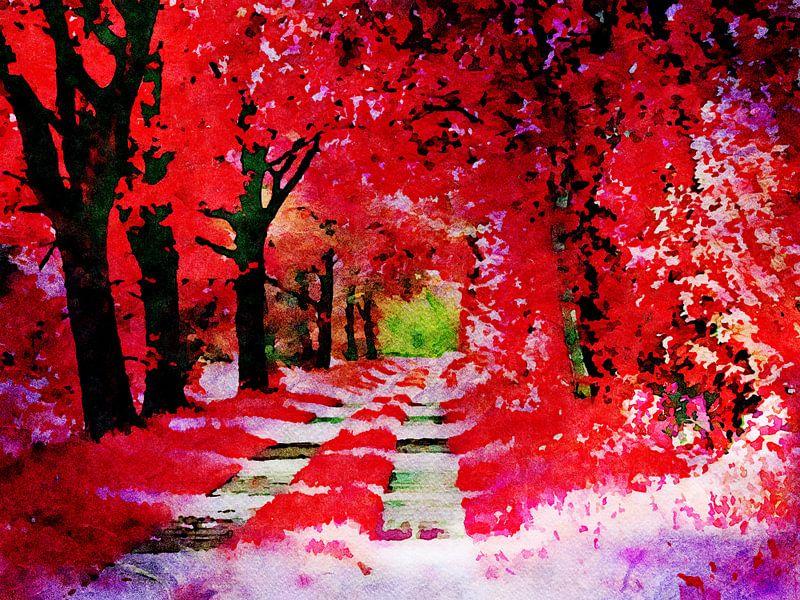 Der Rote Herbstwald - Aquarellmalerei von Patricia Piotrak