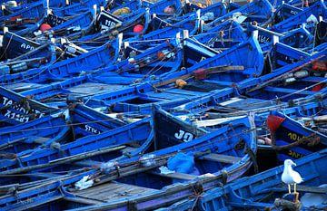Blauwe boten in Marokko van Homemade Photos