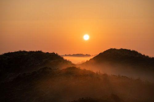 warme zonnegloed boven de mist velden