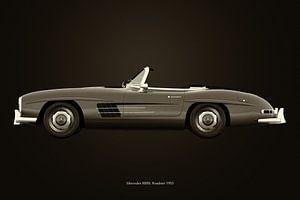 Mercedes 300SL roadster 1953 B&W van Jan Keteleer
