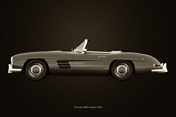 Mercedes 300SL roadster 1953 B&W