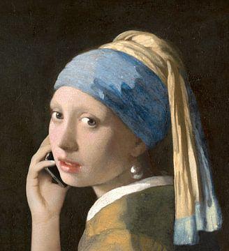 Mädchen mit dem Perlenohring im Gespräch mit Vermeer von Jerome Coppo