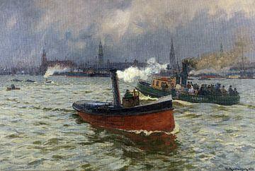 Buien in Hamburg - Friedrich Kallmorgen, 1890 van Atelier Liesjes
