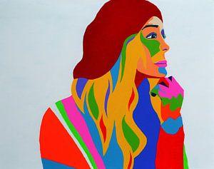 Raspberry Beret schilderij gebaseerd op het nummer van Prince van