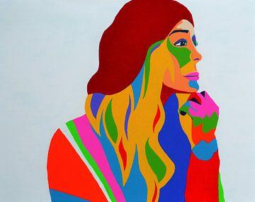 Raspberry Beret schilderij gebaseerd op het nummer van Prince van Freek van der Hoeve
