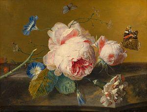 Bloemstilleven met pioenroos, Jan van Huijsum