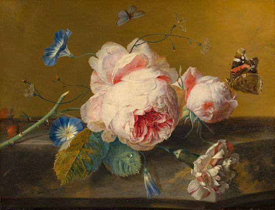 Bloemstilleven met pioenroos, Jan van Huijsum van Meesterlijcke Meesters