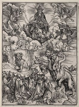 Das Tier mit den sieben Köpfen und das Tier mit den Hörnern der Lämmer, Albrecht Dürer von De Canon