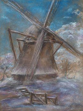 Mühle in einer winterlichen Schneelandschaft. von Ineke de Rijk