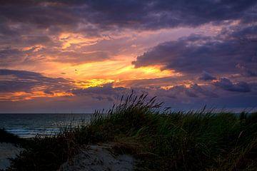 Contrastrijke kleurige zonsondergang aan de Nederlandse kust met de duinen. von Retinas Fotografie