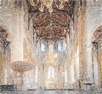 Interieur Laurenskerk Rotterdam, tekening van Rietje Bulthuis