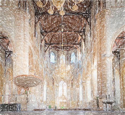 Interieur Laurenskerk Rotterdam, tekening