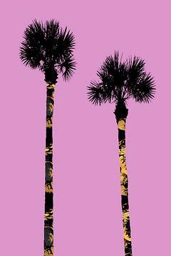Grafische kunst PALMBOMEN roze  van Melanie Viola