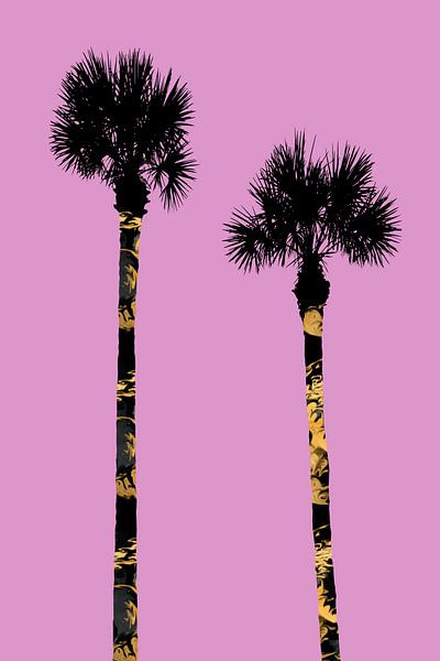 Grafische kunst PALMBOMEN roze