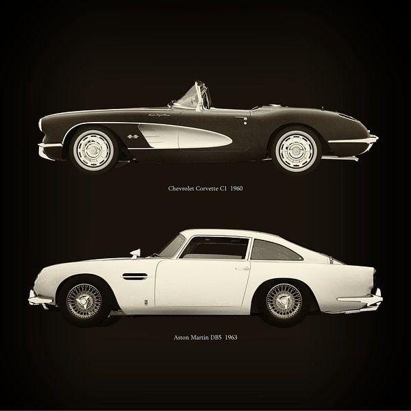 Chevrolet Corvette C1 1960 en Aston Martin DB5 1963 van Jan Keteleer
