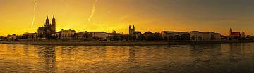 Maagdenburgse panorama bij zonsondergang van Frank Herrmann