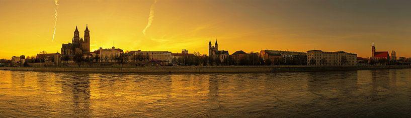 Panorama de Magdebourg au coucher du soleil sur Frank Herrmann