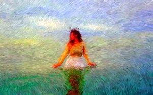 Frau im Ozean von Maurice Dawson