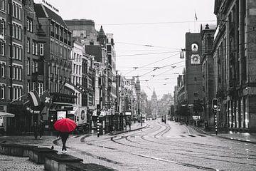 Regenachtige dag in Amsterdam van Mike van Prattenburg