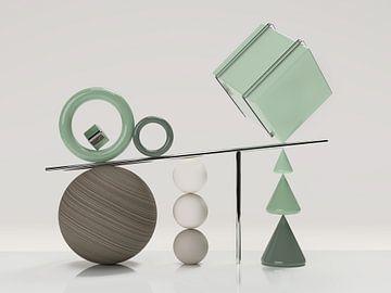 Holzkugel mit grünem Würfel von shoott photography