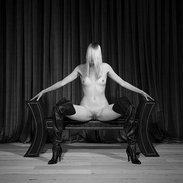 Sehr schöne nackte Frau mit schönem Körper in Pose auf einer Bank #7254 von william langeveld