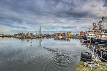 Zicht op de haven van Stavoren in Friesland  met een wegvliegende meerkoet sur Harrie Muis