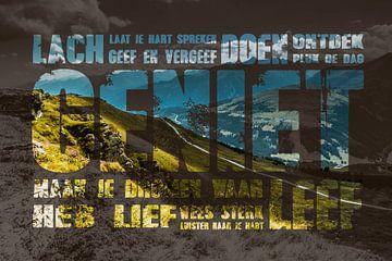 Berglandschap met tekst geniet van Stedom Fotografie