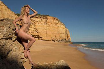 Künstlerischer Akt am Strand mit Felsen von Arjan Groot