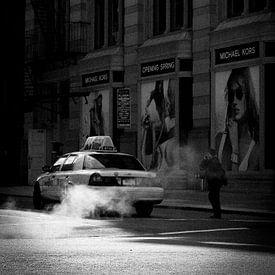 New york Taxi in blak and white van Erik van 't Hof
