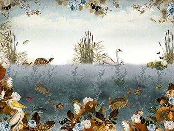 Belle illustration d'un monde sous-marin avec des cygnes et des tortues. sur Studio POPPY
