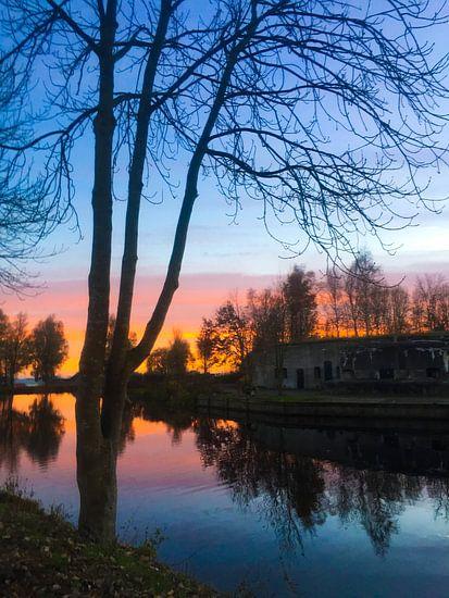 Fort Kudelstaart zonsondergang van Stefanie de Boer