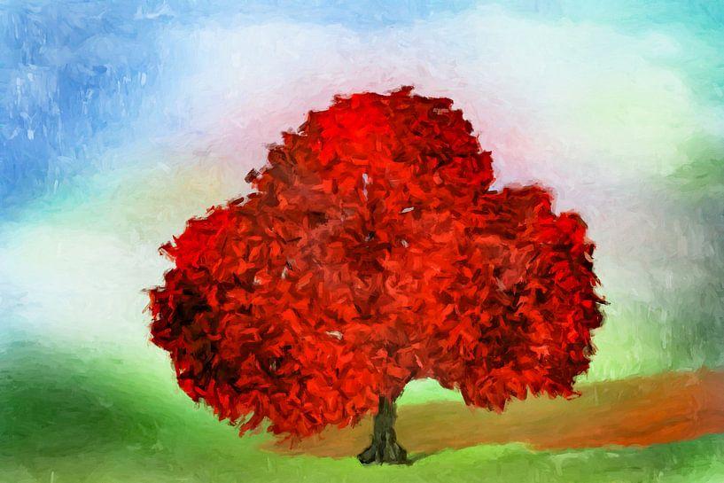 De rode boom abstract van Marion Tenbergen