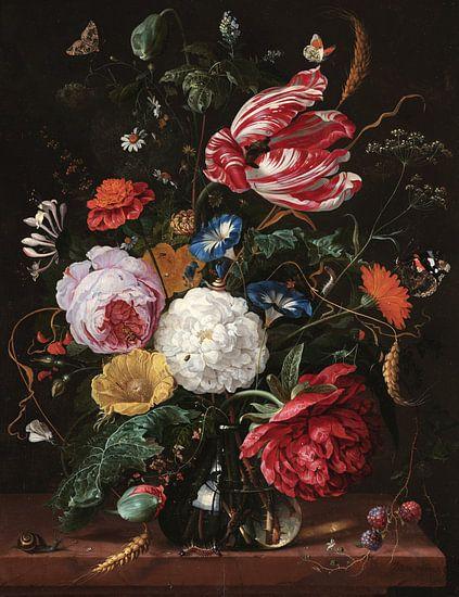 Stilleven met bloemen in een glazen vaas, Jan Davidsz. de Heem