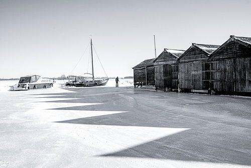 Winterlandschap boten zwart wit