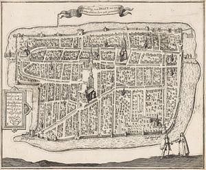Oude kaart van Delft van omstreeks 1729.