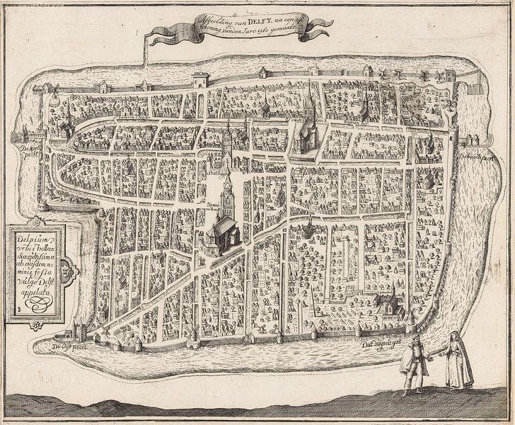 Oude kaart van Delft van omstreeks 1729. van Gert Hilbink